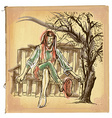 Eulenspiegel - Hand drawn sketch freehand colored vector image vector image