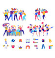fans cheering team icon set vector image vector image