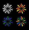 fireworks set color on black background vector image vector image