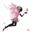 flower fairy with butterfly vector image vector image