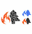 forest fire composition icon spheric items vector image vector image