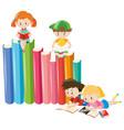 four children reading books vector image vector image