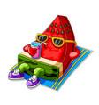 funny watermelon cartoon sunbathing and drinking vector image