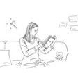 girl is reading book and sitting on sofa in room vector image