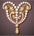 gold brooch with precious stones filigree vector image vector image