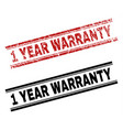 grunge textured and clean 1 year warranty stamp vector image vector image