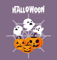 halloween card with ghost and pumpkin characters vector image vector image