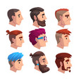 head young man with fashion hairstyles set vector image vector image