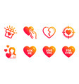 hold heart love and love you icons set broken vector image vector image