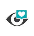 human eye with heart in chat bubble colored icon vector image vector image