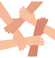 human hand connection teamwork vector image vector image