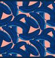 indigo blue palm leaves dense bold seamless vector image