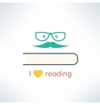 love reading banner with heart and book in vector image