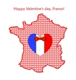 map france with flags and hearts vector image vector image