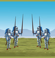 medieval warriors on war vector image