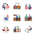 meetings and refreshment flat set vector image