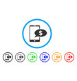 mobile financial message rounded icon vector image vector image