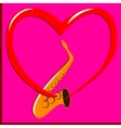 Red heart and Saxophone vector image vector image