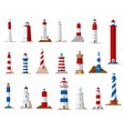 sea lighthouse and beacon tower isolated icons vector image vector image