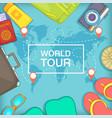 sea rest concept world tour cartoon style vector image vector image