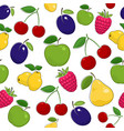 seamless pattern of ripe fruits and berries vector image vector image