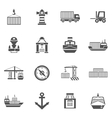 Seaport Black Icons Set vector image vector image