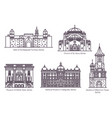 set isolated serbia famous buildings thin line vector image vector image