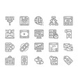 set seo and marketing line icons hosting vector image vector image