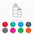 Shampoo bottles icon Liquid soap sign vector image