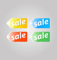 shiny colored price tag on a gray background vector image vector image