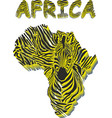 silhouette map of africa with the head of zebra vector image vector image