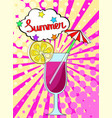 summer cocktail with lemon fruit and berry with vector image vector image