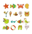 Summer Icons with White Background vector image
