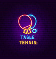 table tennis neon label vector image vector image