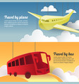 travel plane and bus paper cut out banner vector image vector image