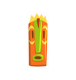 tribal tiki mask hawaiian carved wooden statue vector image