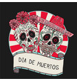 two sugar skulls for day of vector image
