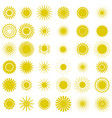 yellow sun icons sparkling star glowing light vector image vector image
