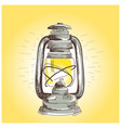 hand draw oil lantern lamp burning vector image