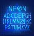 alphabet neon letters collection text lettering vector image vector image