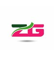 Alphabet Z and G letter logo vector image
