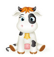 baby little cow 3d cute calf toy cub cartoon vector image vector image
