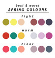 best and worst colours for spring vector image