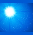 blue sky and sun realistic blur design with burst vector image vector image