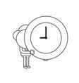 businessman character holding clock black outline vector image vector image