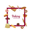 cartoon bakery frame with place for text vector image vector image