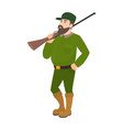 cartoon hunter green uniform hunting rifle vector image