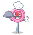 chef with food cute lollipop character cartoon vector image vector image