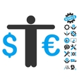 Currency Trader Flat Icon With Tools Bonus vector image vector image