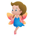 cute fairy with colorful wings vector image